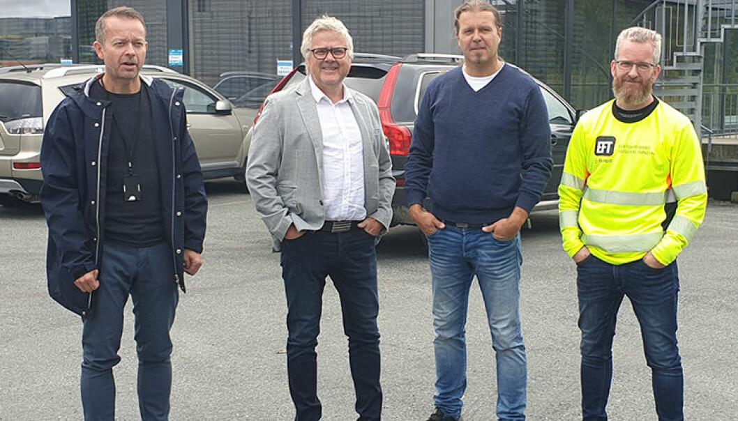 SAMARBEIDER: Håndverkere i Trondheimsområdet har gått sammen for å bekjempe arbeidslivskriminalitet. F.v.: Kurt Ove Lodgaard (repr. for Rørfag), Are Søpstad (repr. for Tømrerfaget), Ingar Strand (repr. for Malermestrene) og Eystein Garberg (repr. for Elektrofag). (