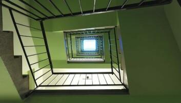 TRAPPELØP: Oppgangene ble malt i to valører. (Foto: Fin Serck-Hanssen)