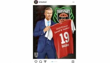 BLEST: Det har blitt mye oppmerksomhet etter at sportsnettstedet Bleacher Report la ut et illustrasjonbilde av Erling Braut Haaland med en gammel Bryne-drakt og malerfirma-logo på sin Instagram-konto. (Foto: Faksimile fra instagram)